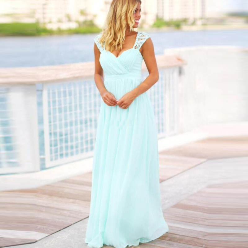 Cheap Mint Green Long Beach Bridesmaid Dresses Country Style Floor Length Backless Pregnant Maid of Honor Dress For Maternity