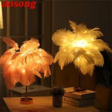 Aosong настольная лампа светодиодное перо железное искусство