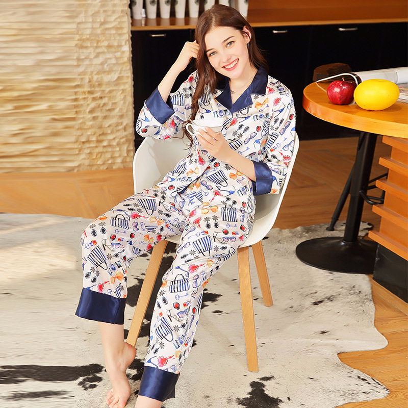 Yao Ting Model With English Letters Silk Pajamas Women's Spring Long Sleeve Trousers Home Wear Two-Piece Set Tz675