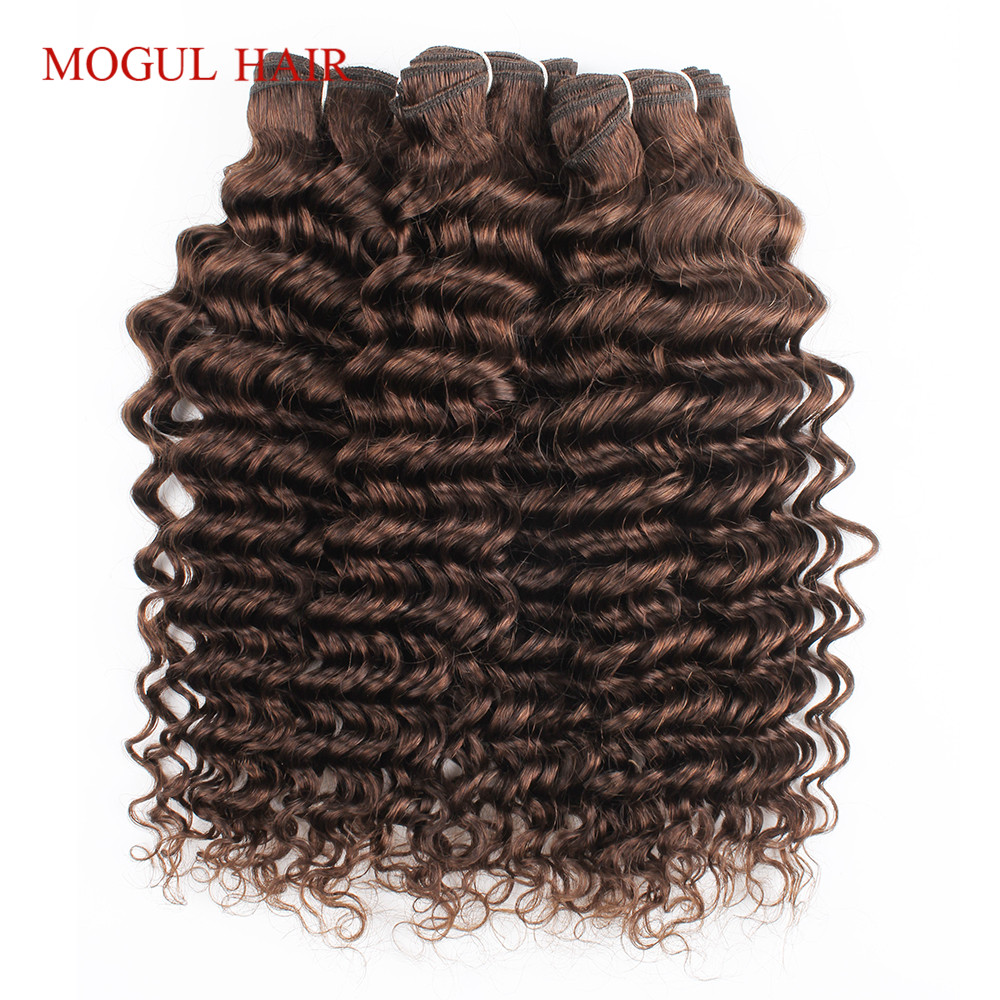 Color 4 Chocolate Brown Deep Wave Remy Human Hair Bundles 10-24 inch Indian Hair Weave Extensions Quality Last Long Mogul Hair