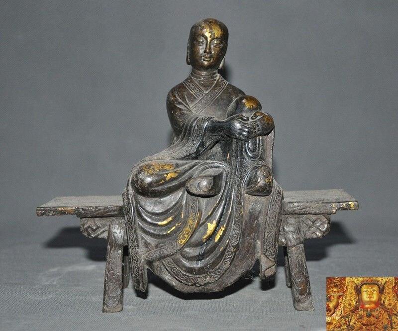 Décoration de mariage antiquités bouddhisme tibétain bronze doré banc Jizo Ksitigarbha moine bouddha Statue