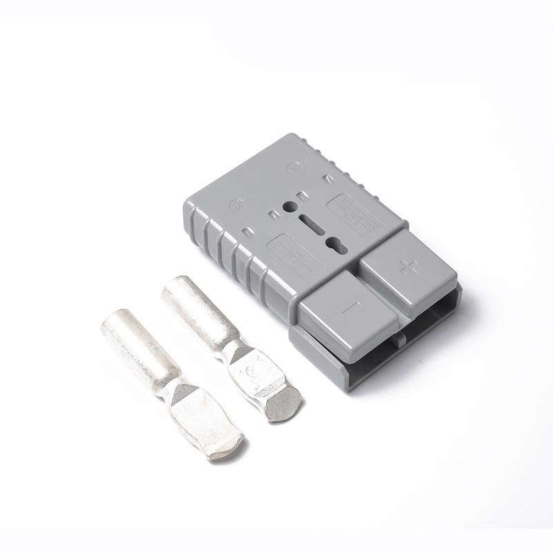 350A 600V Forklift Battery Connector Adapter Plug with 2 Ports Power Plug Gray