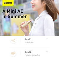 Baseus Portable Handheld Fan Square Tube Mini Fan Rechargeable Summer Cooling Fan USB Cooler Fan Small Air Cooler Low Noise