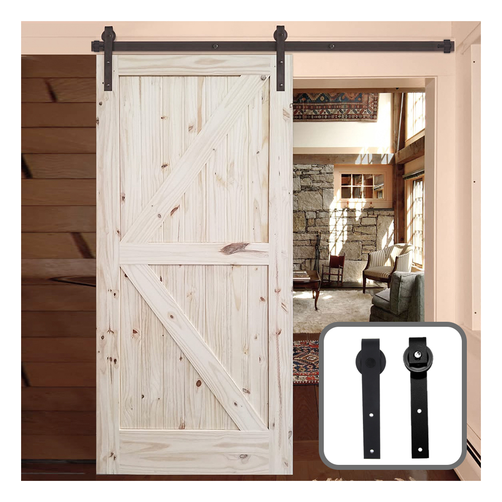 183CM/200CM Barn Door Hanging Rail For Europe Rustic Black Sliding Hardware Cabinet Wood Door Sliding Track Kit