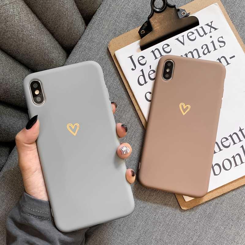 IPhone 6 6s 7 8 artı X XR XS MAX iPhone 11 Pro Max durumda Ultra ince yumuşak kalp şeklinde desen silikon koruyucu kılıf