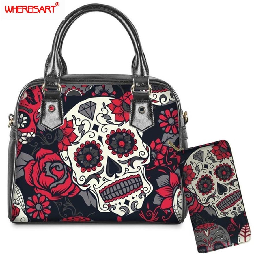 WHEREISART 2Pcs/set Sugar Skull Print Shoulder Messenger Crossbody Bag And  Wallet PU Leather Top Handle Bags & Purse For Women|Top-Handle Bags-  AliExpress