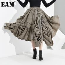 [EAM] 높은 탄성 허리 브라운 격자 무늬 주름 비대칭 하프 바디 스커트 여성 패션 조수 새로운 봄 가을 2020 1H2720