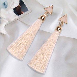 Bohemian Crystal Long Tassel Earrings Black Blue Red Pink Silk Fabric Drop Dangle Earrings Women Jewelry For Party Beach(China)