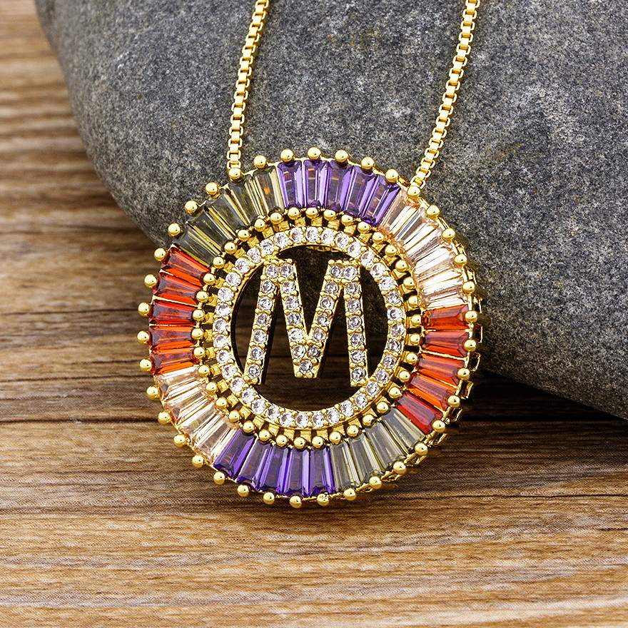 New Trendy Gold Color Micro Pave Rainbow CZ Cubic Zirconia A-Z Initials Letter Pendant Necklaces For Women Jewelry