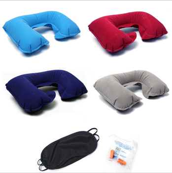 1pc U Shaped Travel Pillow Car Head Neck Inflatable Neck Pillow Inflatable Rest Air Cushion for Travel Neck Pillow image