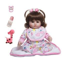 45cm silikonowe tkaniny ciała loki Reborn laleczka bobas zabawki jak żywe Bebe mały rozmiar księżniczka prezent urodzinowy dla dziecka moda prezent