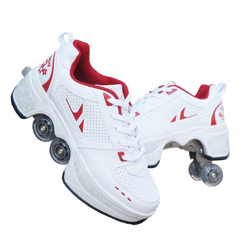 Hot Schoenen Casual Sneakers Lopen + Skates Vervormen Wiel Skates voor Volwassen Mannen Vrouwen Unisex Paar Childred Weggelopen Schaatsen Vier wielen