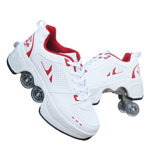Hot Shoes Casual Sneakers Walk+Skates Deform Wheel Skates for Adult Men Women Un
