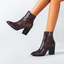 높은 품질 2020 가을 겨울 발목 부츠 여성을위한 동물 뱀 패턴 PU 가죽 하이힐 부츠 발목 botas 신발