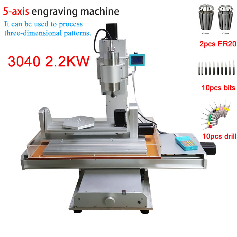 Industrial CNC 3040 5axis Vertical engraving machine 2.2KW VFD Spindle column type CNC Router 3Axis Can Upgrade 5Axis Wood Routers     - title=