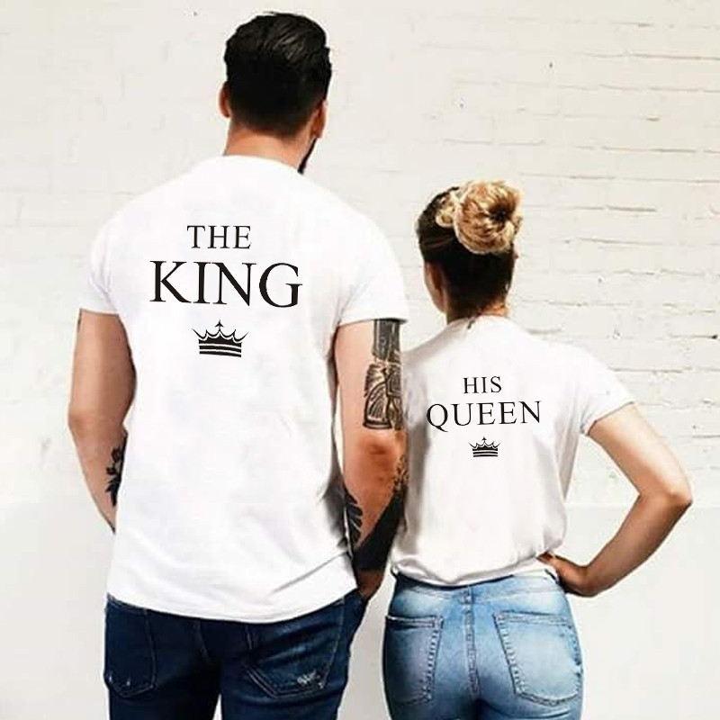 LUSLOS King Queen His-and-hers T Shirt Women And Men Lovers' Summer Clothes Casual Short Sleeve Couple Tops