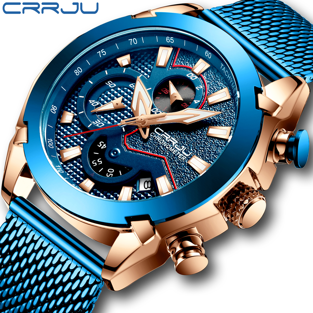 CRRJU New Men Mesh Band Watch Fashion Waterproof Chronograph Men Wristwatch Casual Sport Blue Calendar Clock Relogio Masculino|Quartz Watches| |  - title=