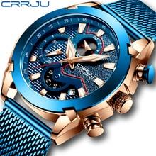 CRRJU New Men Mesh Band Watch Fashion Waterproof Chronograph Men Wristwatch Casual Sport Blue Calendar Clock Relogio Masculino