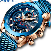 Crrju新男性メッシュバンドの腕時計のファッション防水クロノグラフメンズ腕時計カジュアルスポーツブルーカレンダー時計レロジオmasculino