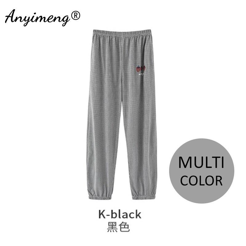 Womens Plus Size Pants 4XL Multi Color Pajamas Pants Soft Cotton Ladies Trousers Elastic Waist Tie-ankle Pant Girls Sleep Bottom