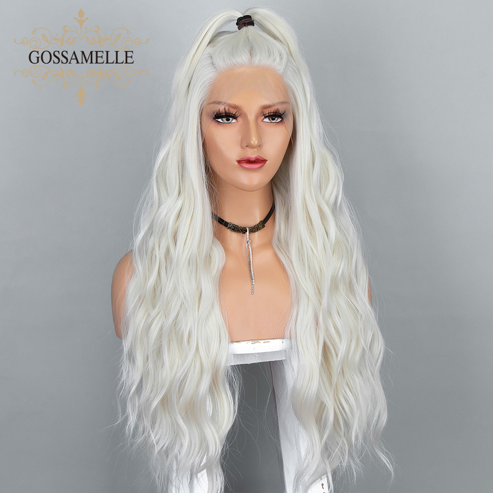 Gossamelle Platinum Blonde Wig Lace Front Wig Long Wave Synthetic Wigs For Women Sliver Grey Cosplay Wigs Heat Resistant Fiber