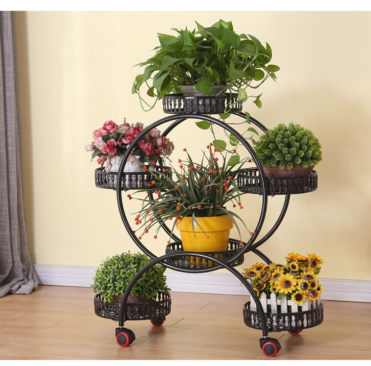 Wheels Metal Plant Holder Flower Pot