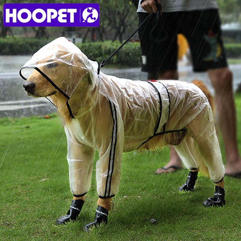 Impermeable para mascotas HOOPET, impermeable, transparente, con capucha, de cuatro pies, para perros, ropa para la lluvia para animales