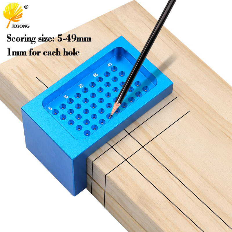 5-49mm Woodworking T-type Scriber Ruler Aluminum Alloy Hole Positioning Marking Crossed Measuring Gauge Carpenter Tools
