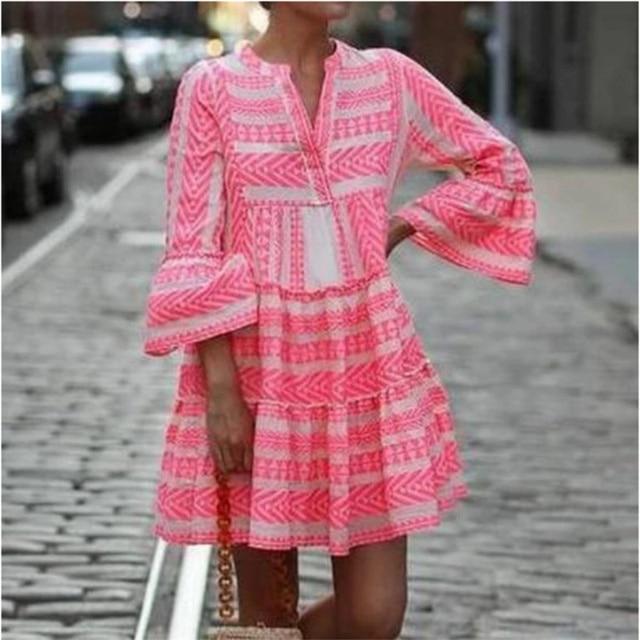 Women Summer Boho Mini Striped Printing Dress 2021 Flare Sleeve Flowy Beach Party Plus Size Fashion Casual V-Neck Loose Dresses 1
