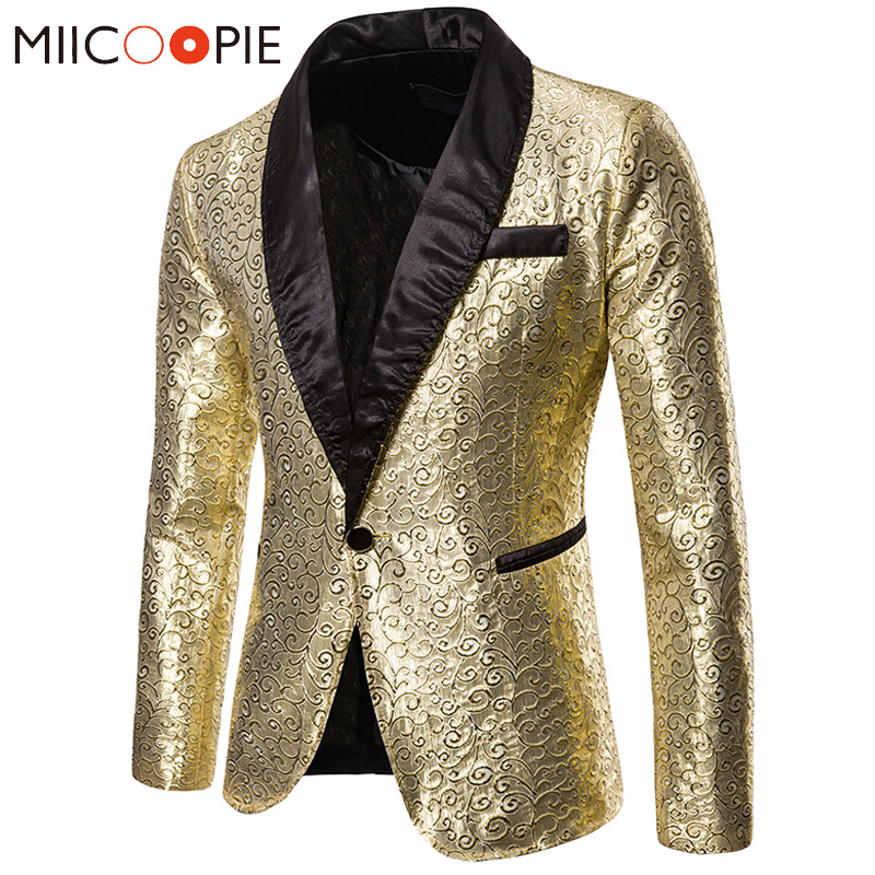 Shiny Gold Floral Mens Suit Jacket Blazers Wedding Dress 2019 New Luxury Blazer Masculino Nightclub Wedding Party Singer Clothes