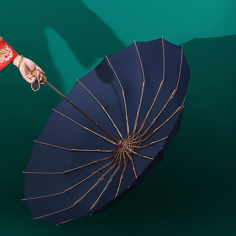 16 K super windproof women rain umbrella fashion retro wooden handle solid color large size business windproof strong umbrella