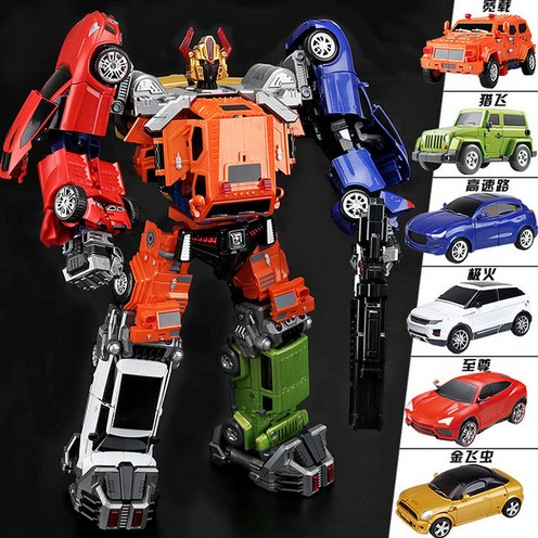 WJ Transformation TW Justice Throttlebot Team Glodbug Chase Rollbar Wideload Freeway Searchlight 6IN1 Action FIgure Robot Toys