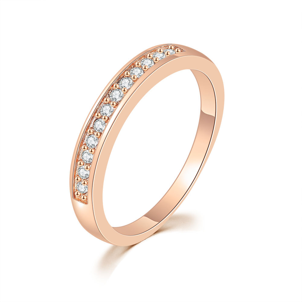 Double Fair Classic Circle Rings For Women Rose Gold Color Cubic Zirconia Wedding Fashion Jewelry Ring For Girls DFR062M