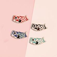 Japanese Koi Fish Enamel Pin Cartoon Lucky Goldfish Lapel Pins Badges Carp Flag Brooches Cute Animal Jewelry Gift Friends Kids