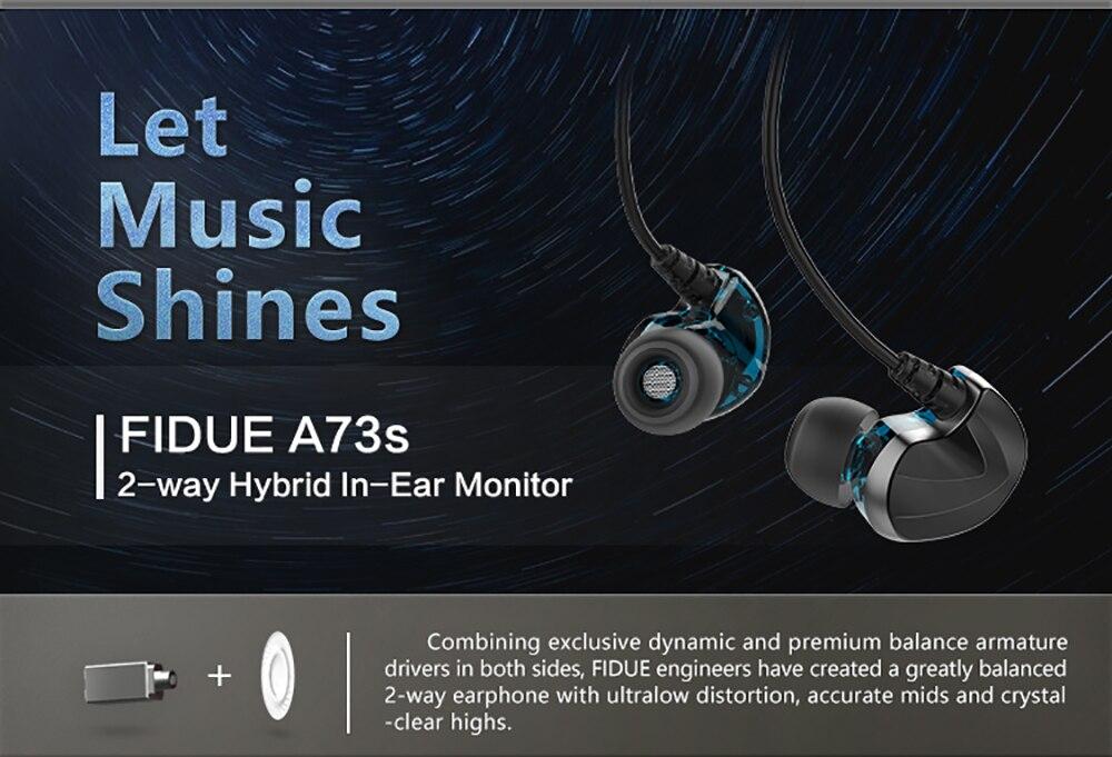 Fidue a73s in-ear fones de ouvido, duas