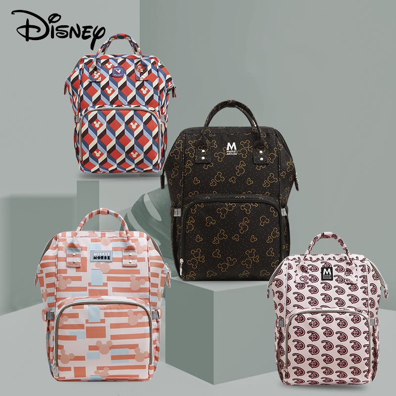 Disney Diaper Bag Travel Hook Mickey Stroller Mommy Backpack For Mom Baby Care Bags Large Capacity Maternity Nappy Wet Bag USB