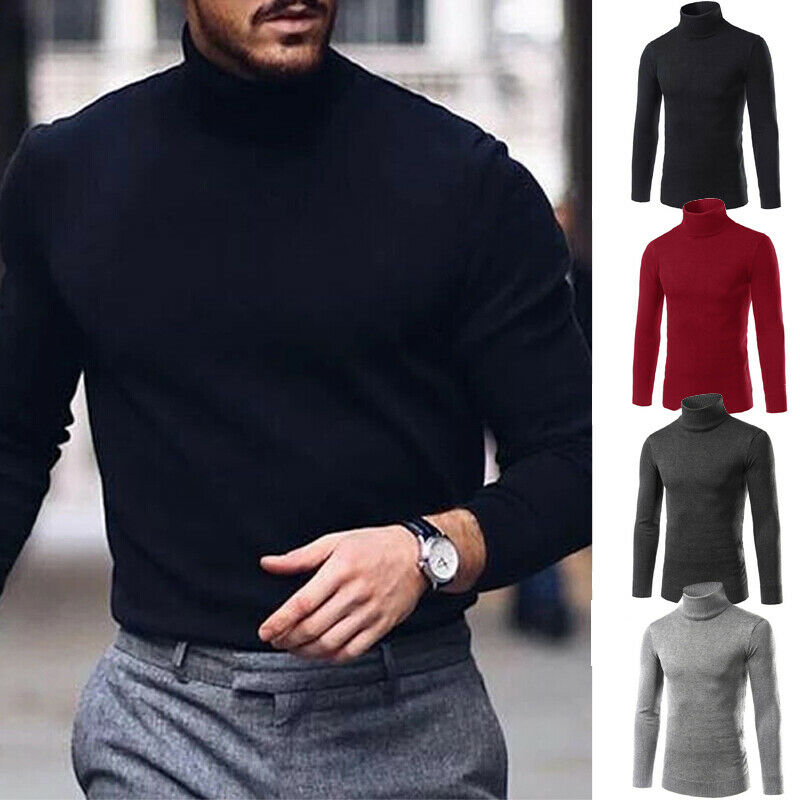 Winter Mens High Neck Long Seeleve Sweaters Knitted Tops Solid Basic Tops Fashion Male Thermal Turtle Roll Neck Sweater Stretch