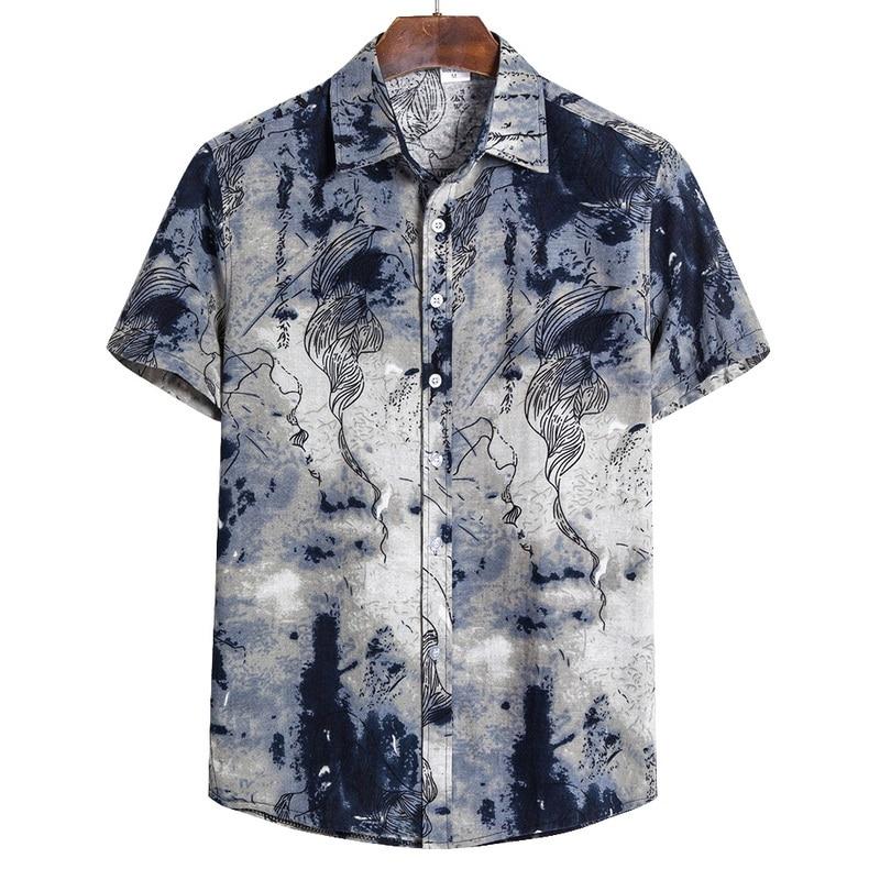 2020 Summer Men Cotton Linen Shirts Short Sleeve Ethnic Printed Casual Baggy Hawaiian Shirt Tops Plus Size 5XL Camisa Masculina