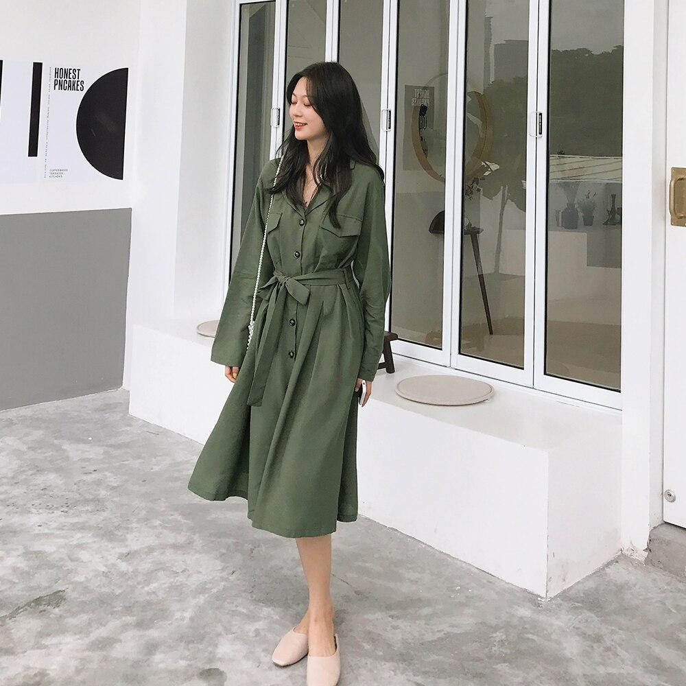 Pluz taille mode chemises robe nouveau 2019 automne couleur unie dames robe à manches longues décontracté femmes vêtements