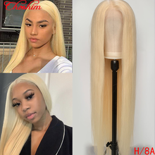 Brazilian Blonde 13x4 613/PINK/BURG/1B 613/RED Transparent Lace Front Human Hair Wig Choshim Remy Straight Hair Wig 180% Density