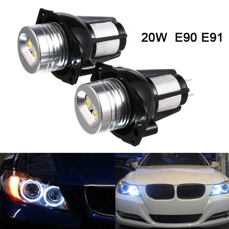 2pcs Car 12V LED Angel Eye Headlight For BMW E90 E91 White Red Blue Lights 20W Marker Halo Ring Light Bulb Angel Eye Light