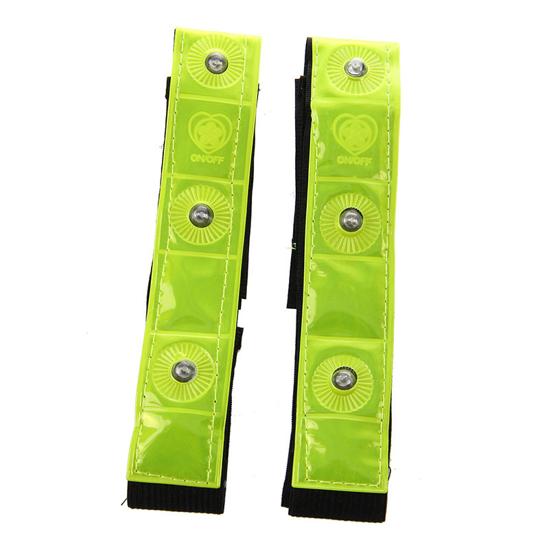 New 2 X Reflective Band Arm Leg Strap Belt 4 LED Light Cycling Running Jogging