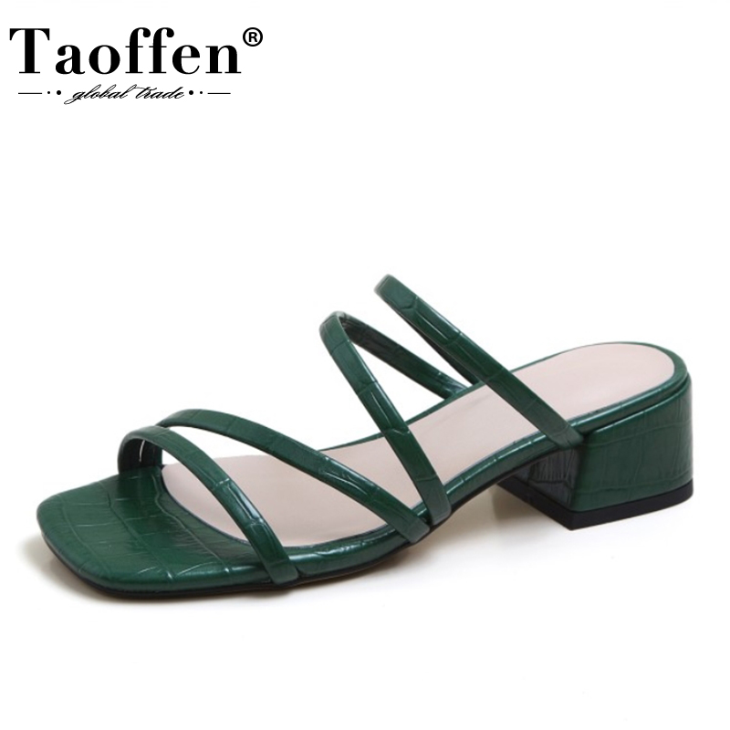 Taoffen New Women Sandals Pu Leather Shine Women Summer Shoes Thick High Fashion Woman Sandals Party Footwear Size 34-40