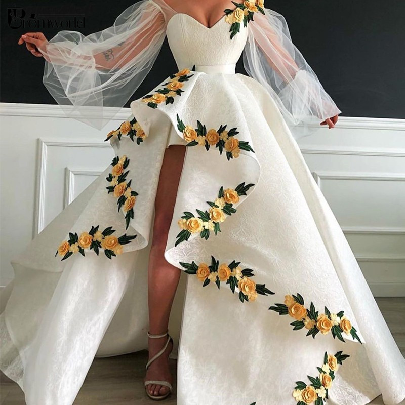 Long Sleeves White Evening Dresses 2020 New Ball Gown Split Lace Flowers Islamic Dubai Saudi Arabic Long Formal Gowns Prom Dress
