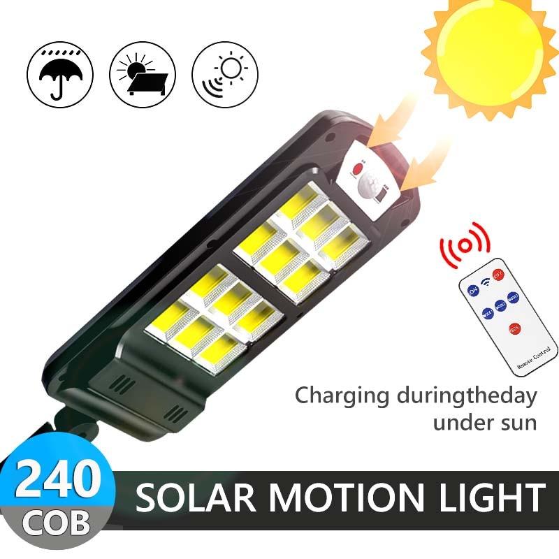 240COB Powerful Solar LED Light Outdoor Use Remote Control Waterproof Wireless Sensor PIR Motion Street  Solar Garden Wall Lamps