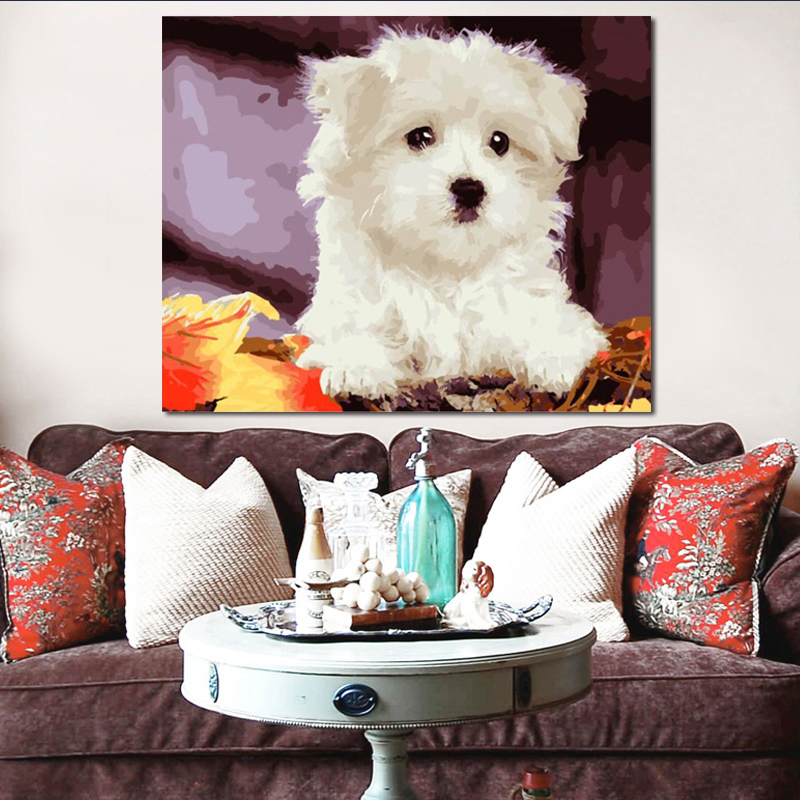 Diy Paint By Numbers  Picture Drawing By Numbers With Kits Animal Lovely Dog Decorative Hanging Painting
