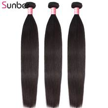 Sunber Hair Peruvian Straight Bundles 3PCS Remy Human Weaves Natural Black Color Double Weft 8- 30 Inch Can Be Permed
