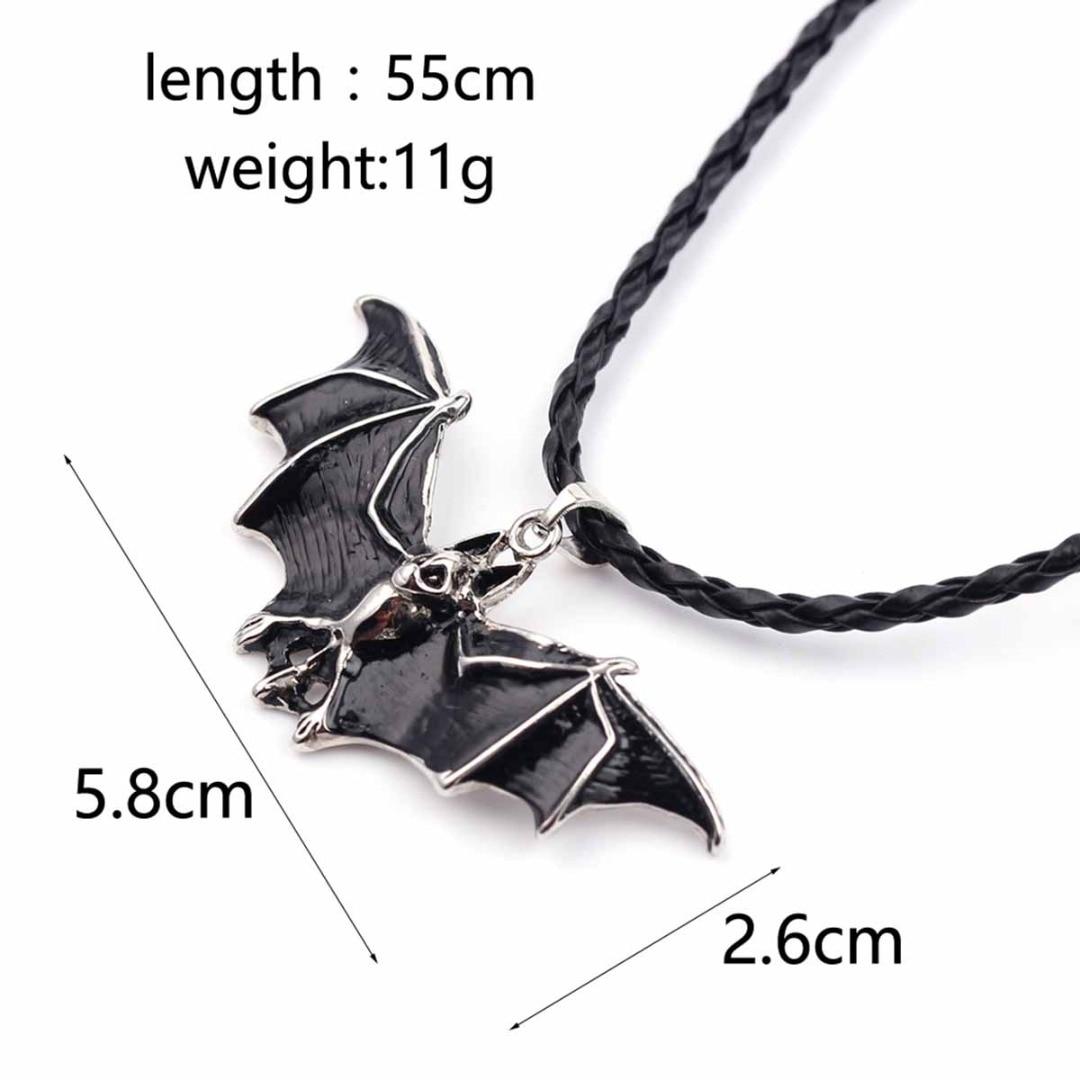 Vampire Bat Necklace Bat Black Necklace Women Punk Gothic Night Animal Pendant Necklace Leather Chain Men Halloween Jewelry Gift