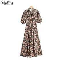 Vadim mujeres retro pajarita cuello maxi vestido floral patrón manga corta cremallera lateral moda femenina vestidos casuales vestidos QD088
