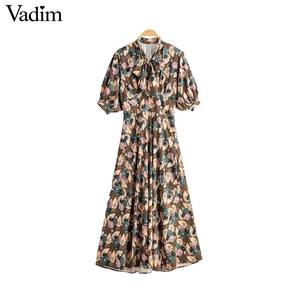 Image 1 - Vadim women retro bow tie collar maxi dress floral pattern short sleeve side zipper female fashion casual dresses vestidos QD088